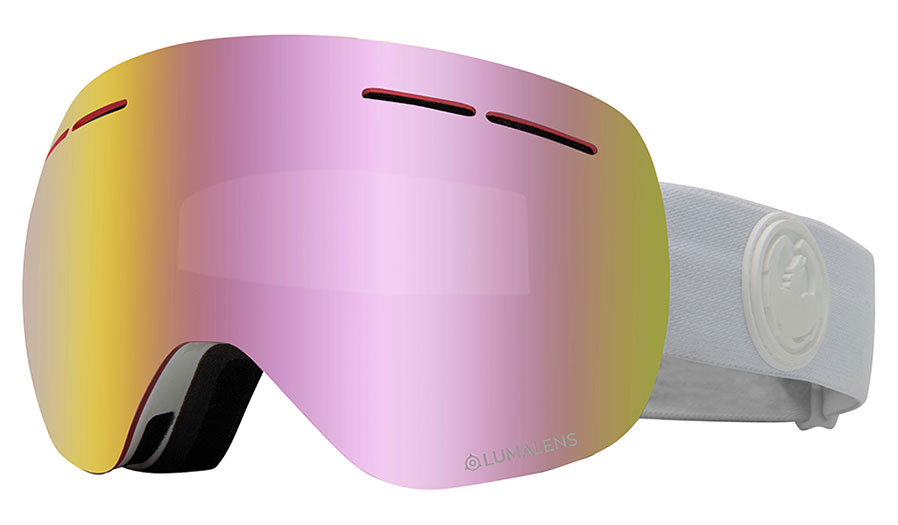 Dragon X1S Ski Goggles - Whiteout / LumaLens Pink Ion + Dark Smoke
