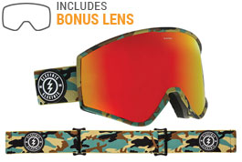 Electric Kleveland Ski Goggles - Camo / Brose Red Chrome + Pink