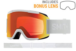 Smith Optics Squad Prescription Ski Goggles - White Vapor / ChromaPop Everyday Red Mirror + Yellow
