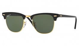 Ray-Ban RB3016 Clubmaster Sunglasses - Black & Gold / Green Polarised