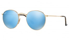 Ray-Ban RB3447N Round Metal Flat Lens Sunglasses - Gold / Light Blue Flash