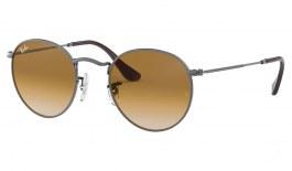Ray-Ban RB3447N Round Metal Flat Lens Sunglasses - Gunmetal / Light Brown Gradient