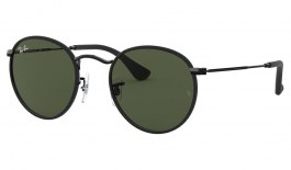 Ray-Ban RB3475Q Round Craft Sunglasses - Black & Black Leather / Green