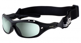 Dirty Dog Wetglass Curl II Sunglasses - Black (Floatable) / Green Polarised