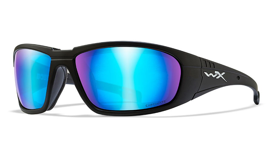 Wiley X Boss Sunglasses - Matte Black / Captivate Blue Mirror Polarised