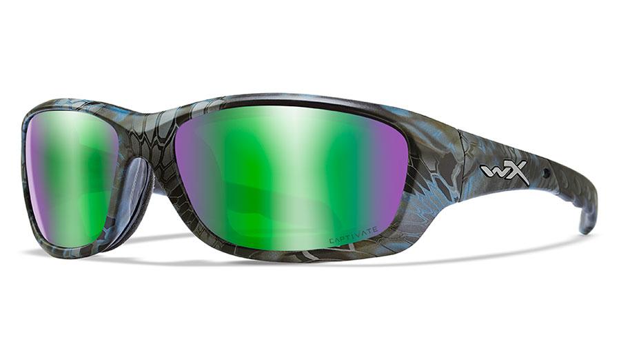 Wiley X Gravity Sunglasses - Kryptek Neptune / Captivate Green Mirror Polarised