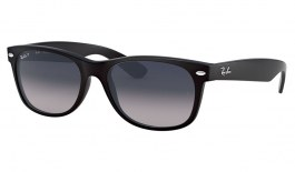 Ray-Ban RB2132 New Wayfarer Sunglasses - Matte Black / Blue Grey Gradient Polarised