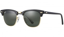 Ray-Ban RB3016 Clubmaster Sunglasses - Black & Gold / Green (G-15)