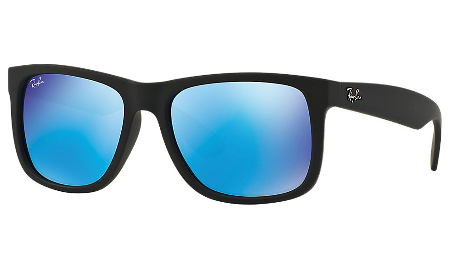 Ray-Ban RB4165 Justin Sunglasses - Rubber Black / Green w/Blue ...