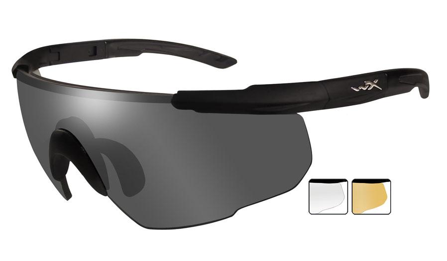 Wiley X Saber Advanced Sunglasses - Matte Black / Smoke Grey + Clear +  Light Rust
