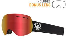 Dragon X1S Ski Goggles - Black / Lumalens Red Ion + Lumalens Rose