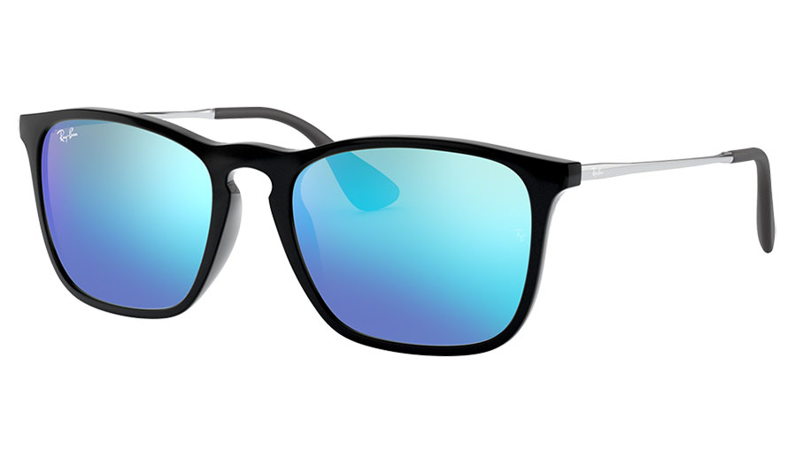 Ray-Ban RB4187 Chris Sunglasses - Black & Gunmetal / Blue Flash