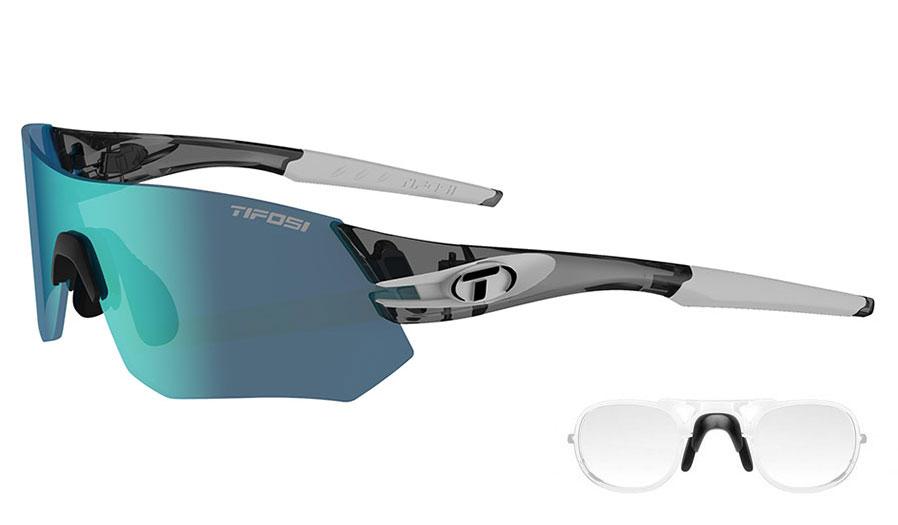 Tifosi Tsali Prescription Sunglasses - Clip-On Insert - Crystal Smoke & White / Clarion Blue + AC Red + Clear