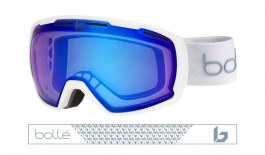Bolle Laika Prescription Ski Goggles - Matte White Monogram / Phantom Vermillon Blue Photochromic