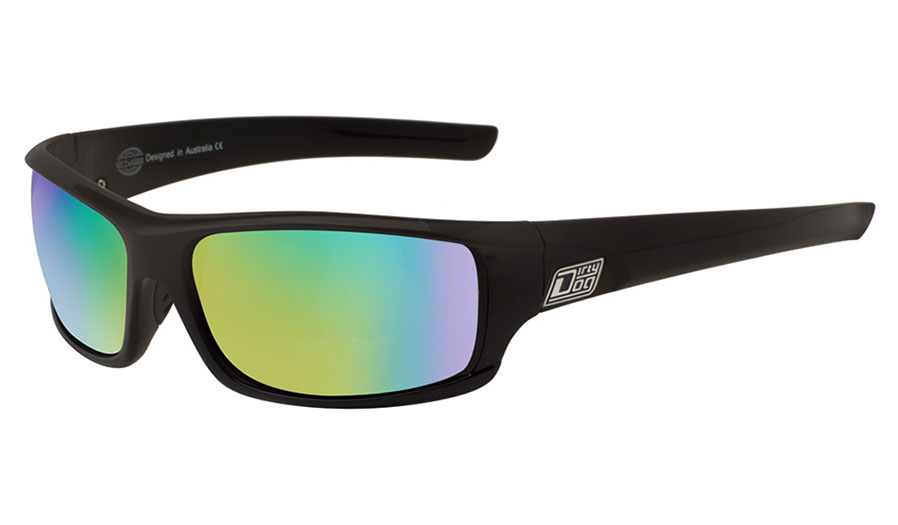Dirty Dog Clank Sunglasses - Satin Black / Green Polarised w/Green Fusion Mirror