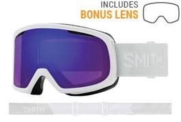 Smith Optics Riot Prescription Ski Goggles - White Vapor / ChromaPop Everyday Violet Mirror + Yellow
