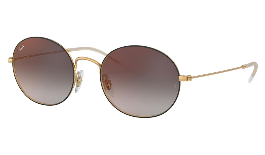 Ray-Ban RB3594 Beat Sunglasses - Black & Gold / Grey Gradient Red Mirror