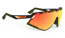 Rudy Project Defender Prescription Sunglasses - Clip-On Insert - Matte Black Stripes / Multilaser Orange