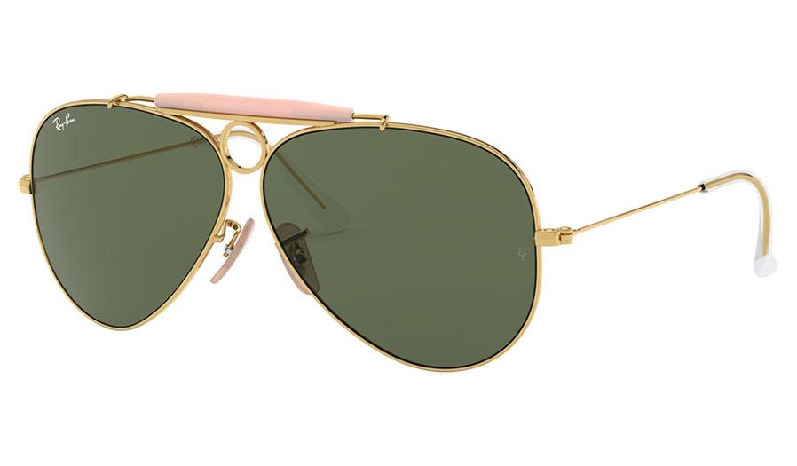 Ray-Ban RB3138 Aviator Shooter Sunglasses - Gold / Green