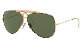 Ray-Ban RB3138 Aviator Shooter Sunglasses - Gold / Green