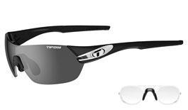 Tifosi Slice Prescription Sunglasses - Clip-On Insert - Black & White / Smoke + AC Red + Clear
