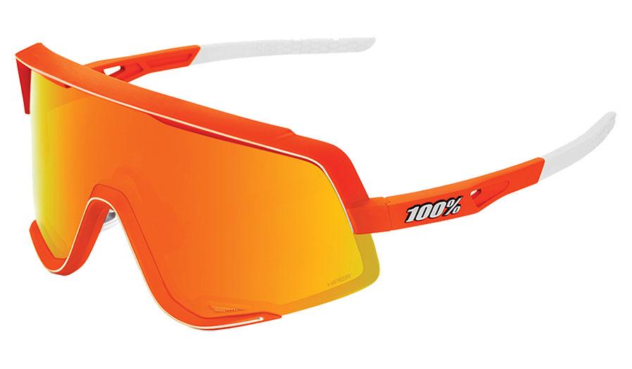 100% Glendale Sunglasses - Neon Orange / HiPER Red Multilayer Mirror + Clear