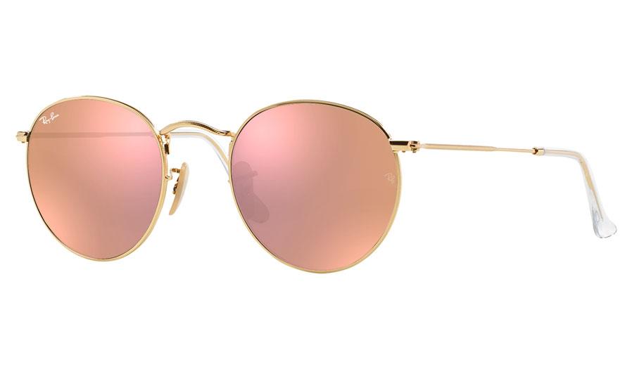 57cba3e16d Ray-Ban RB3447 Round Metal Prescription Sunglasses - Gold - RxSport