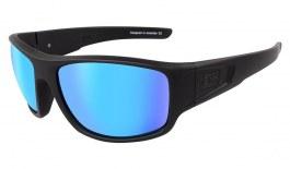 Dirty Dog Muffler Sunglasses - Satin Black / Grey Polarised with Ice Blue Mirror