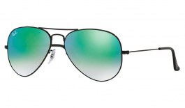 Ray-Ban RB3025 Aviator Sunglasses - Black / Green Gradient Flash