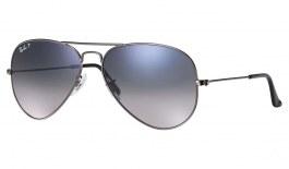 Ray-Ban RB3025 Aviator Sunglasses - Gunmetal / Blue Grey Gradient Polarised