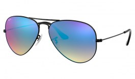 Ray-Ban RB3025 Aviator Sunglasses - Black / Blue Gradient Flash