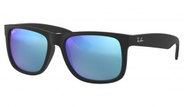 Ray-Ban RB4165 Justin Sunglasses - Black Rubber / Blue Mirror