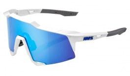 100% Speedcraft Sunglasses - Matte White / HiPER Blue Multilayer Mirror + Clear