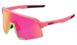 100% S3 Sunglasses - Matte Washed Out Neon Pink / Purple Multilayer Mirror + Clear