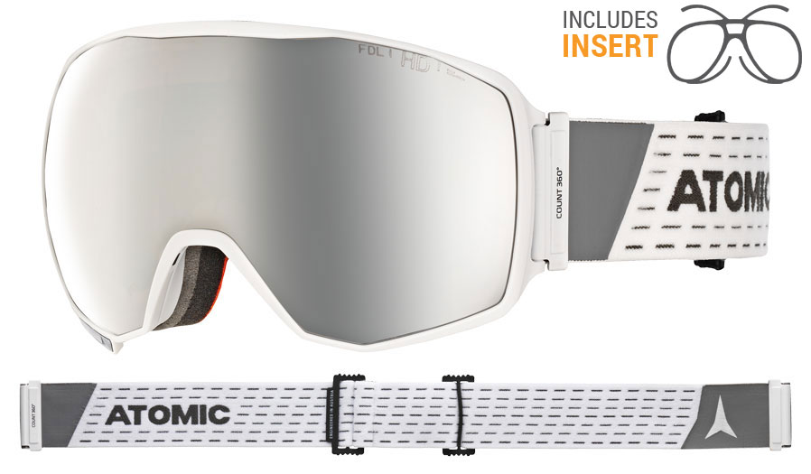 cf3468f5d4d Atomic Count 360 Prescription Ski Goggles - White   Silver Stereo HD ...