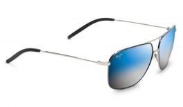 Maui Jim Kami Sunglasses - Silver with Navy Blue / Dual Mirror Blue to Silver Polarised