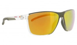 Red Bull Drift Sunglasses - Shiny Crystal Clear & Olive Green (Signature Collection) / Brown Orange Mirror Polarised