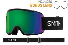 Smith Optics Squad Prescription Ski Goggles - Black / ChromaPop Sun Green Mirror + Yellow