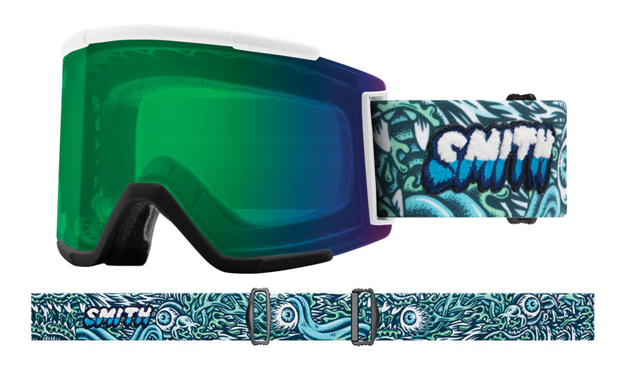 Smith Optics Squad XL Ski Goggles - Tall Boy / ChromaPop Everyday Green Mirror + ChromaPop Storm Rose Flash