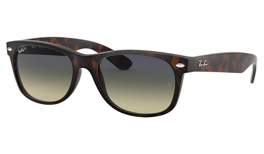 Ray-Ban RB2132 New Wayfarer Sunglasses - Matte Tortoise / Blue Green Gradient Polarised