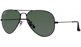 Ray-Ban RB3025 Aviator Sunglasses - Black / Green Polarised