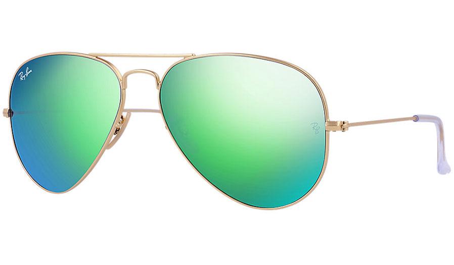 679e1b99a8 Ray-Ban RB3025 Aviator Sunglasses - Matte Gold   Green Flash - RxSport