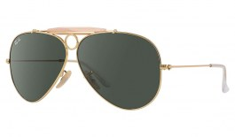 Ray-Ban RB3138 Aviator Shooter Sunglasses - Gold / Green (G-15)