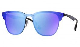 Ray-Ban RB3576N Blaze Clubmaster Sunglasses - Black / Dark Violet Blue Mirror