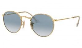Ray-Ban RB3447N Round Metal Flat Lens Sunglasses - Gold / Light Blue Gradient
