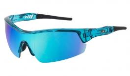 Dirty Dog Sport Edge Sunglasses - Crystal Blue / Grey w/Blue Fusion Mirror