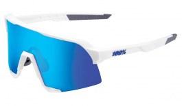 100% S3 Sunglasses - Matte White / HiPER Blue Multilayer Mirror + Clear