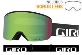 Giro Axis Prescription Ski Goggles - Black Wordmark / Vivid Emerald + Vivid Infrared