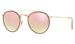 Ray-Ban RB3647 Round Double Bridge Sunglasses - Gold / Copper Gradient Flash