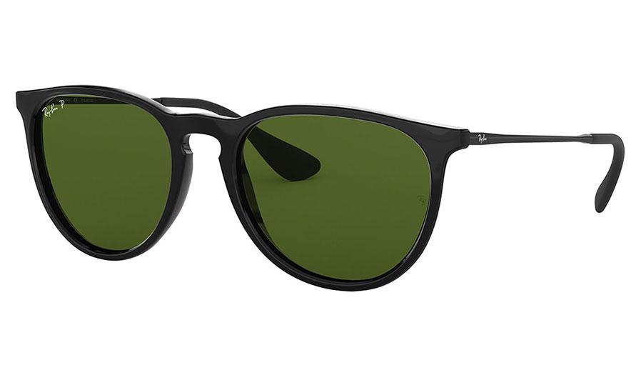 Ray-Ban RB4171 Erika Sunglasses - Black / Green Polarised